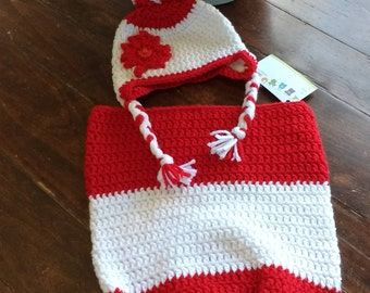 Canadian Flag Baby Cocoon & Pom Pom Hat