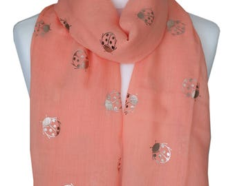 Ladybird Scarf, Coral Scarf, Gold Metallic Print Scarf, Spring Summer Scarf, Womens Scarves, Gifts for Her, Gift For Mom, Accessories