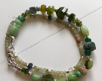 Shades of Green Gemstone Bracelet~ Energy Bracelets~ Geniune Gemstone Double Strand Bracelet~