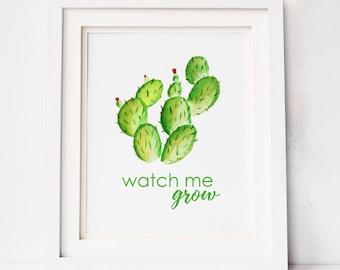 Cactus Print / Watch Me Grow / Modern Nursery Decor / Boho Nursery Theme / Baby Shower Gift / Southwest Nursery / Cactus Nursery Art /
