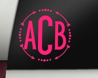 Arrow Monogram Decal, Monogram Decal, Arrow Decal, Car Decal, Bumper Sticker, Window, Cup Decal, Tumbler Decal, Computer Decal
