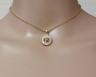 Personalized A-Z Initial Letter Name Gold Chain Choker, Valentine's Day Gift for Her, Zircon and Crystal Round Charm Pendant Name Letter