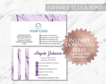 Purple Marble and White Hair Salon and Monat Business Card INSTANT Template