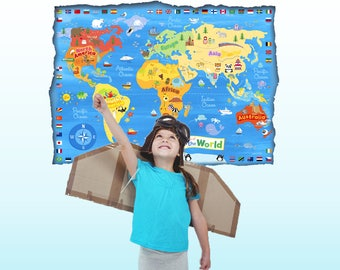 Kids world map decal Map wall decal Sticker Kids Map poster educational posters Children room decal Wall map world map for kids room decal