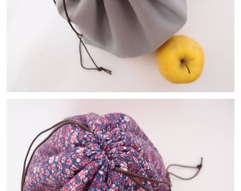 Réversible - Lunch bag - Sac à projet tricot - pochon à repas - fleuri violet rose et gris
