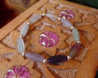 Inspirational intuition bracelet with silver, fluorite, Rainbow fluorite