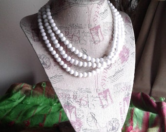 Vintage Three Strand Beaded Pearl Necklace