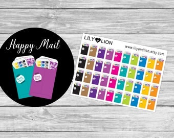 HAPPY MAIL planner stickers - envelope - diary - plum paper - happy planner - erin condren - Kikki k