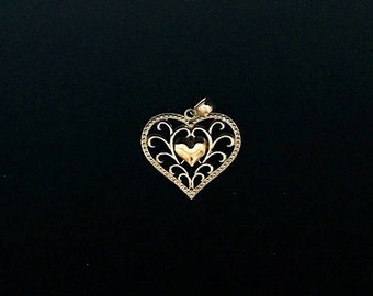 Vermeil Gold/Sterling Heart Charm