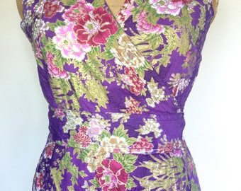 Vintage Floral Summer Dress, Purple Crossover Dress, Wrap Dress, Made In India, 100% Cotton, Lazy Day Vintage, Size 8-10 US, 10-12 UK