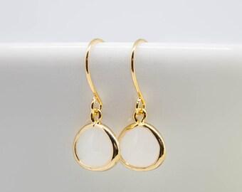 Earrings Gold-plated Rauchweiß white pierced earrings