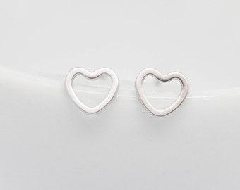 Earring Silver Heart Stud Earrings