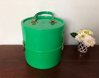 Vintage Wig Case    Train Case    Cosplay Wig Case    Green Vinyl    Faux Leather    Hat Box