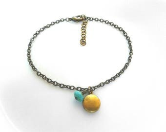 Bohemian Anklet Turquoise Bead Locket Anklet Tiny Round Locket Ankle Bracelet Gold Locket Anklet Turquoise Anklet Women's Anklet