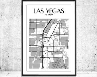Las Vegas Map, Las Vegas Poster, Las Vegas Print, Map of Las Vegas Wall Art, Printable Las Vegas Black White Map Poster, Instant Download