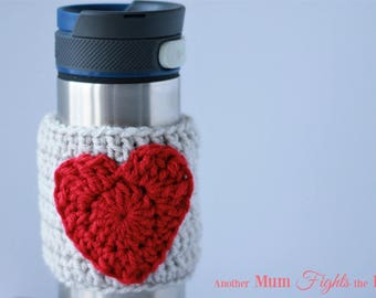 Cup Cozy, Coffee Cozy, Cup Sleeve, Coffee Sleeve, Valentine's Day Gift, Heart Cup Cozy, Crochet Cup Cozy, Coffee Lover Gift, Heart Mug Cozy