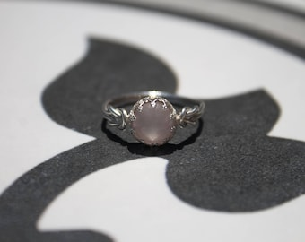 rose quartz ring, dainty pink ring, pink purity ring gift, promise ring for her, love ring, girly pink ring, rose promise ring, blush ring:)