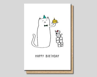 Funny Birthday Card, Birthday card cat, funny blank card cat, Friend Birthday Card, funny Cat card, Animal Card,  Sister Birthday Card cat