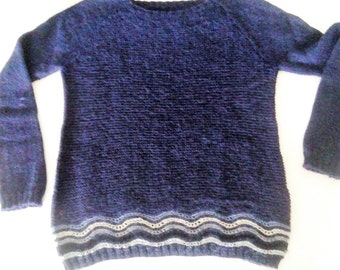 Alpaca woman sweater, blu, hand made,