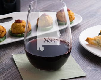 Home Stemless Wine Glass - Alabama State - Moving Gift - Housewarming Gift  - State Love - Best Friend Gift - Alabama Stemless Wine Glass
