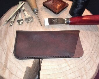 Glasses case leather, hand sewn, glasses case, leather