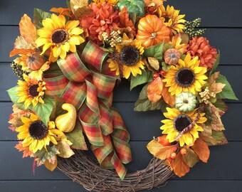 Fall Wreath/ Front Door Wreath/ Fall Decor/Country Wreath/ Farmhouse Wreath/ Harvest Wreath/ Thanksgiving Wreath