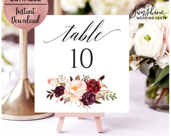 Red Floral Wedding Table Number Sign Template, Printable Script Font Wedding Table Number Sign, Editable Template, PDF, Digital Download