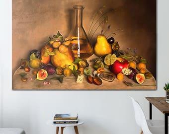 Fruit Canvas, Still Life Canvas, Fruit Art, Kitchen Wall Art, Fruit Print, Kitchen Print, Kitchen Canvas, Kitchen Poster, Fruit painting