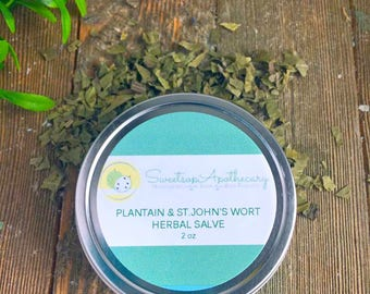 Plantain and St.John's Wort Herbal Salve, St.John's Wort Salve, Plantain Salve, Eczema Salve, Plantain Herbal Salve, Healing Salve, Salve