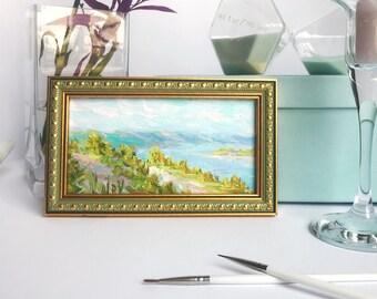 "MINI 4x6 1/2"" Original oil painting artwork riverscape landscape Volga river art home decor book shelf living room bedroom decor"