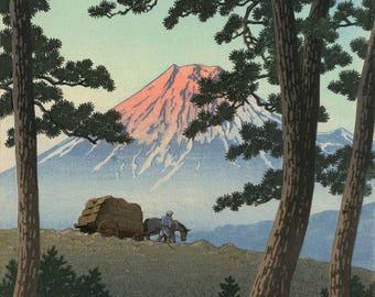 "Japanese Art Print ""Dusk at Tagonoura Beach"" by Kawase Hasui, woodblock print reproduction, asian art, mountain, landscape, Japan, Mt Fuji"