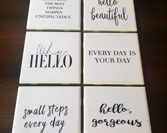 Set of 6 Inspirational / Happy Coasters