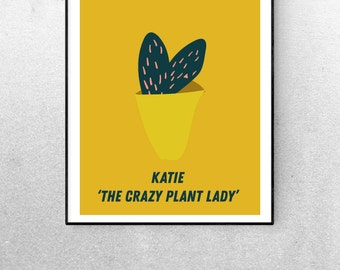 Personalised Print Cactus Lady A3 or A4 Print Housewarming Gift House Print Home Plant Print Custom Birthday Gift Wall Art