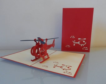 Helicopter Pop up Card Birthday- Get Well- Retirement-Blank (sku059)