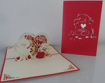 Cute Teddy Bear and Hearts Pop up Card  blank- love-wedding (sku137)