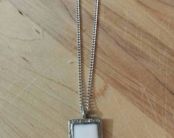 Local pewter and white resin pendant necklace