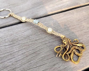 Octopus Keychain- Gold