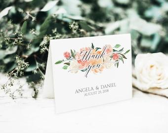 Blush Pink Thank You Card, Thank You Card Template, Blush Wedding, Folded Thank You Cards, DIY Wedding Thank You, Printable Wedding, BD6046