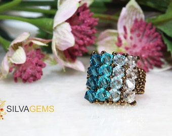 Sparkling Multishade Turquoise Genuine Swarovski Crystals Beaded Handmade Ring. Swarovski Jewellery. Statement Ring. Celeste Blue Ring.