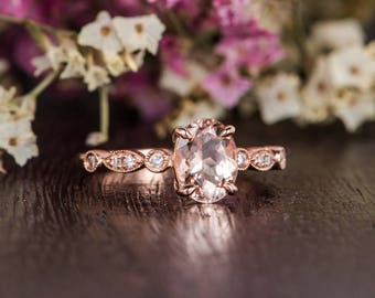 Rose Gold Engagement Ring Diamond Oval Cut Art Deco Moorganite Ring Retro Solitaire Woman Antique Bridal Promise Ring Anniversary Claw Prong