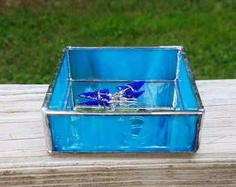 Light Blue Square Mirrored Stained Glass Jewelry or Keepsake Box