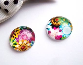 2 glass cabochons 18mm, flowers, FL1 theme
