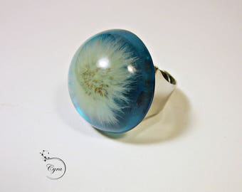 Blue Resin ring with dandelion