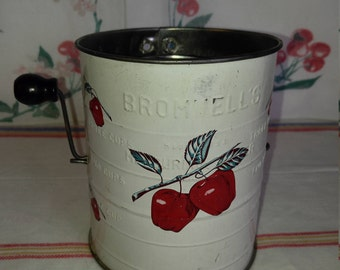 Vintage Bromwell's Red Apples Flour Sifter, Bromwell's Hand Crank Flour Sifter