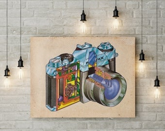 Pentax Camera Insides Vintage Print - Technical Illustration - Printable Art - Instant Download