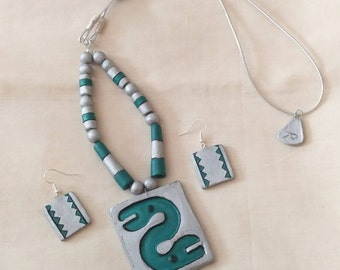 Snake design -terracotta jewelry-polymer clay jewelry- ethnic jewelry
