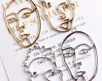 10pcs Wire Face Charm Abstract Face Pendant Bracelet Earring Charms Face Outline Gold Silver Tone Unique DIY Jewelry Supply Novelty Charm