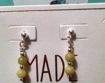 Olive Jade Sterling Silver Earrings