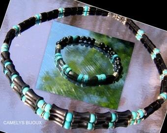 Parure Homme pierre perles TURQUOISE, Hématite noir bambou,Collier bracelet boho mala,Cristaux guérison,protection, cadeau homme