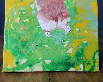 Customizable! - Corgi Sploot on Poured Canvas